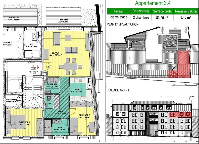 Superbe appartement 2 chambres avec terrasse - Xcellence immobilière